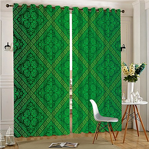 Analisahome Functional Ombre Linen Sheer Curtains Pair Set Vector Seamless Pattern of Foliage Wallpaper Decorative Pattern Grommet Curtains(2 Panels)(2 Panels, 84