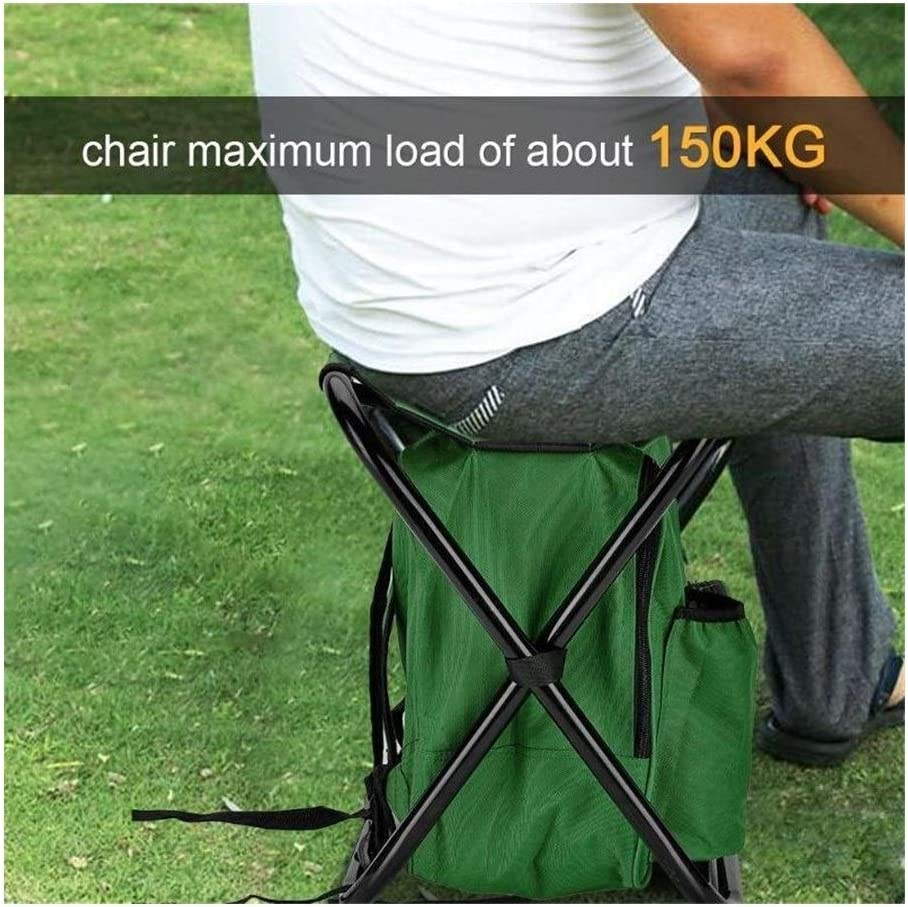 Henanyimeixiang Chair Outdoor Fishing Chair Bag Folding Camping Stool Portable Backpack Cooler Insulated Picnic Bag Hiking Seat Table Bag Bear 150KG (Color : Green) Blue