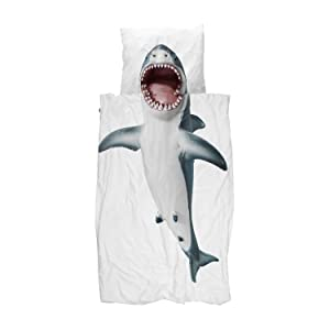 Snurk Twin Duvet Cover and Pillowcase Set for Kids and Teens 100% Cotton Soft Cover – Shark Duvet Cover and Pillowcase