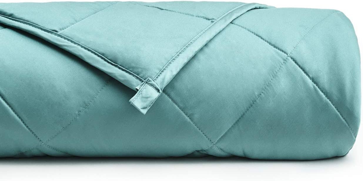 """YnM Bamboo Weighted Blanket with 100% Pure Natural Bamboo Viscose   10 lbs for 70-100 lbs Kids, 41""""x 60""""   Luxury Cooler Version Weighted Blanket, Sea Grass"""