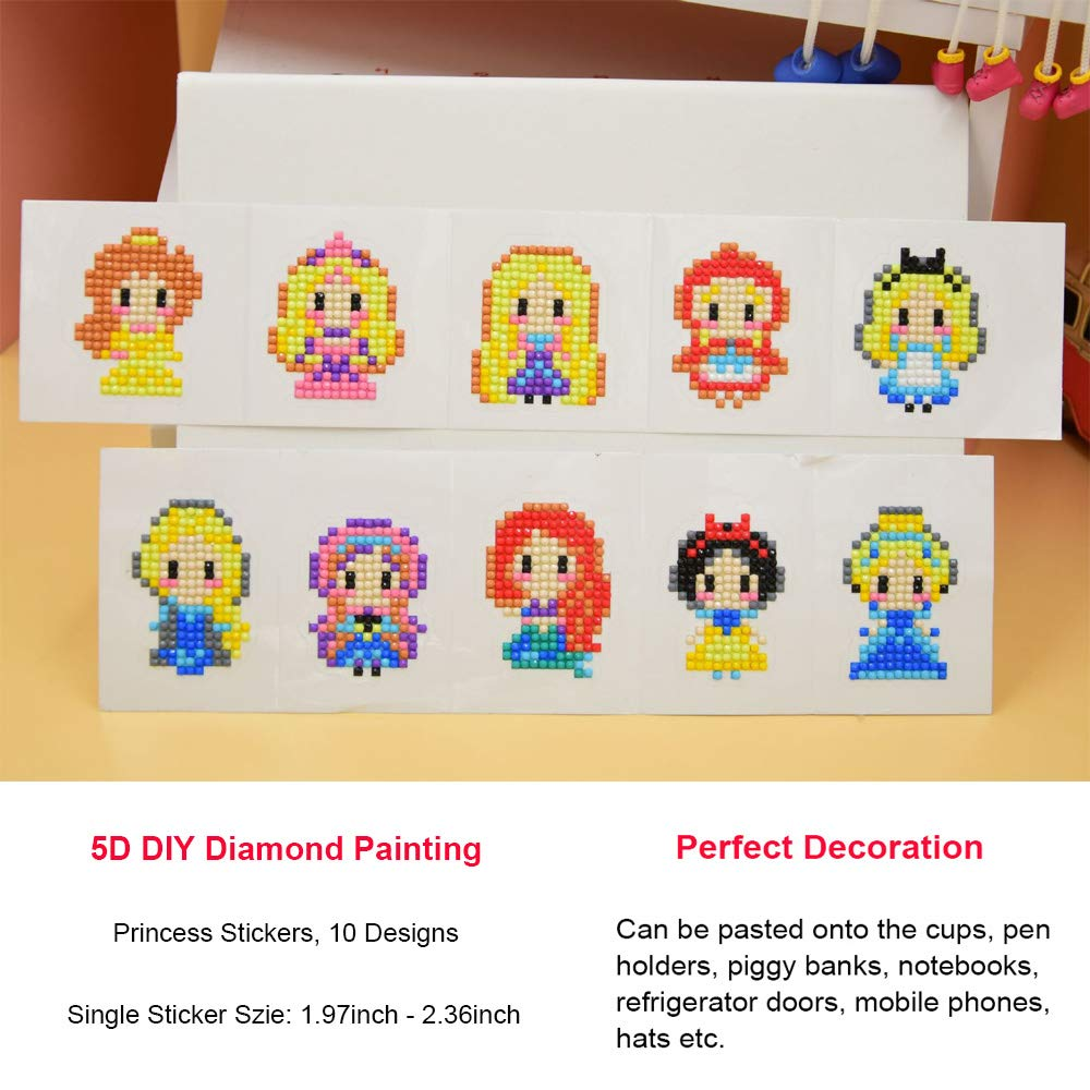 OWAY 5D Diamond Painting Kits for Kids Princess DIY Sticker Paint with Diamonds Kits Arts Crafts Kits for Children and Beginner Adults