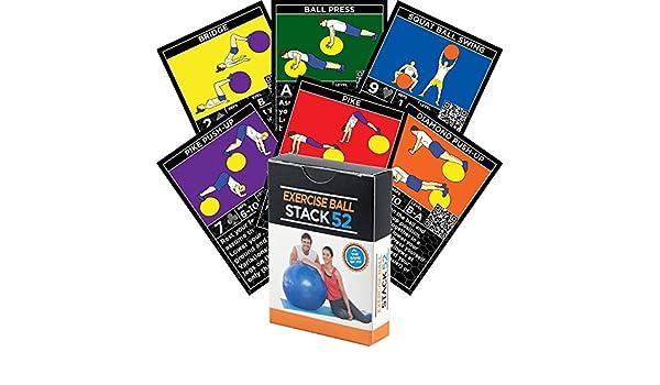 Pelota para ejercicios de fitness tarjetas por pila 52. Swiss Ball entrenamiento jugar juego de cartas. Vídeo instrucciones incluidas. Programa de entrenamiento para pelotas de equilibrio y estabilidad. Ponerse En Forma En