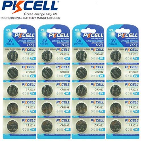 PKCELL CR2032 BR2032 DL2032 ECR2032 3V Lithium Button Battery 20pcs