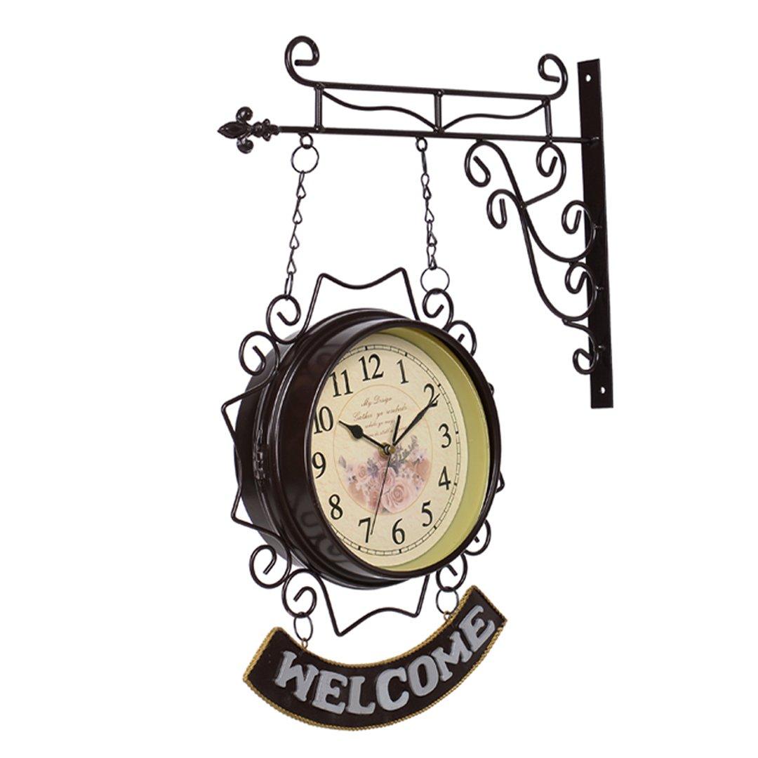 ウエルカム/WELCOME 地中海風 アイアン 両面 掛け時計 おしゃれ 掛時計 壁掛け シズネ インテリア 時計 SFANY B07DXJGCXZ タイプ2 タイプ2