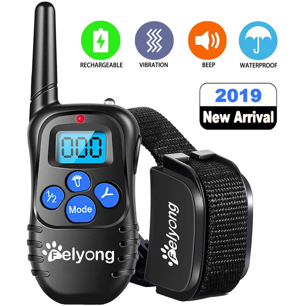 Felyong Dog Training Collar Shock Collar for Dogs Rechargeable and Waterproof Dog Shock Collar with Remote Beep Vibration and Shock Harmless bark Collar for Small Medium Large Dog, 1000ft Remote by Felyong