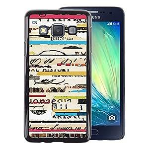 A-type Arte & diseño plástico duro Fundas Cover Cubre Hard Case Cover para Samsung Galaxy A3 (Text Ticket Travel Concert Cool Lines)