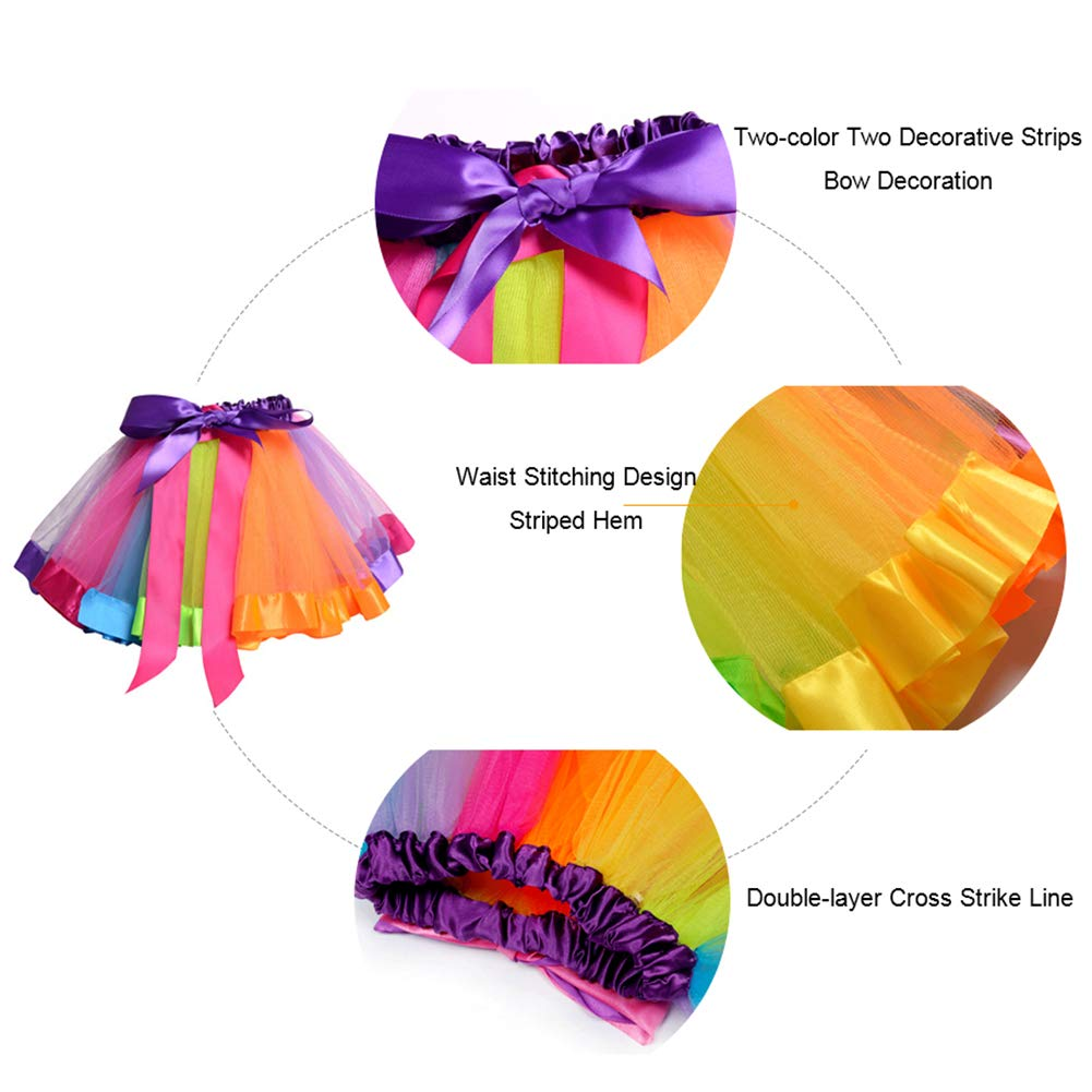Ehdching Girls Layered Rainbow Tutu Skirt Dancewear Tiered Ruffle Ballet Dance Dress with Bowknot