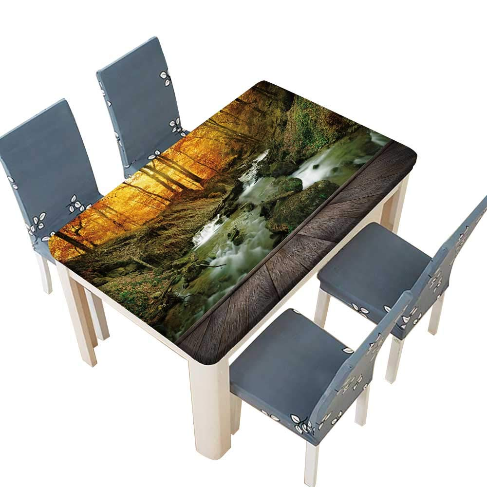PINAFORE 100% Polyester Luxury Tablecloth Autumn Creek Woods with Yellow Trees Foliage and Rocks in Forest Mountain and Wood pier Kitchen Tablecloth Picnic Cloth W69 x L108 INCH (Elastic Edge)