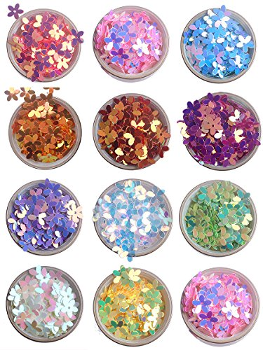 10mm Colorful Iridescent Gold Pink Purple White Yellow Green 3D Flower Loose Sequins Paillettes -