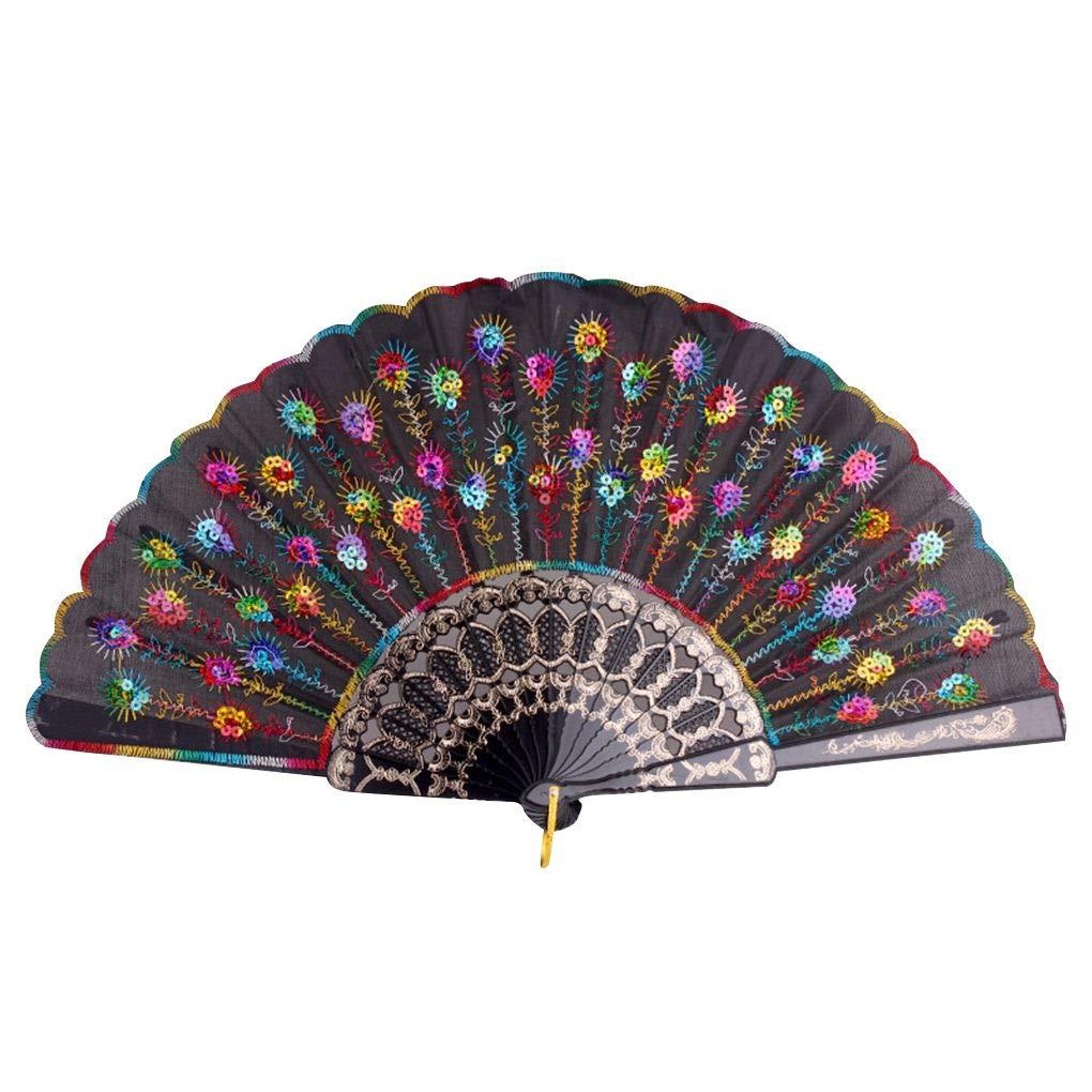 fgyhtyjuu Colorido patr/ón de Flores Bordado Negro de Tela Plegable de Peso Ligero del Ventilador para Funcionamiento del Baile