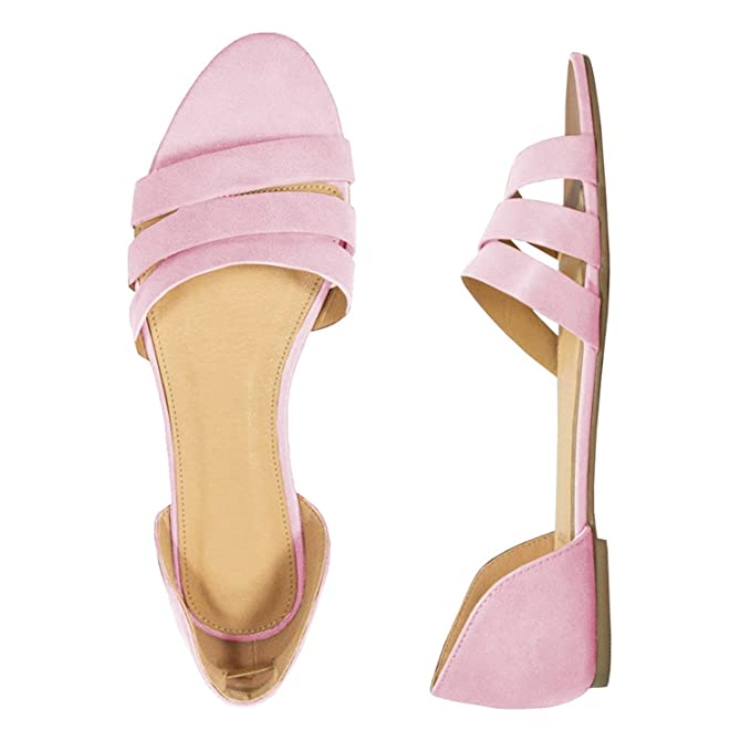 a3709ca1e14980 Amazon.com  Womens Open Toe Woven Pattern Leather Synthetic Sole d Orsay  Hollow Out Flat Sandals  Clothing