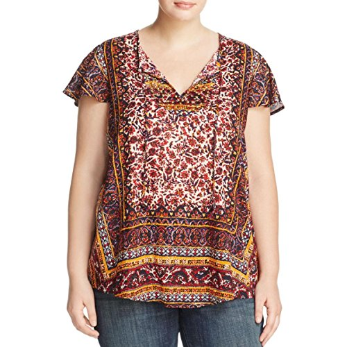 Lucky Brand Women's Plus Size Border Print Top, Red/Multi, 2X