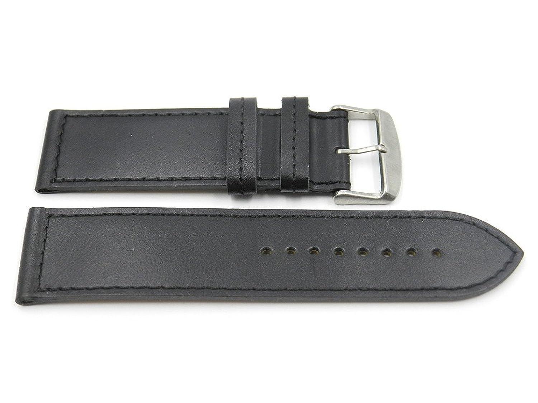 24 mmブラックSmooth WideレザーステッチHypo Allergenic Watchバンド、NOテーパ  B07143D36J