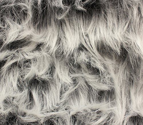 Faux Fur Fabric Long Pile Monkey Shaggy Gray Frost / 60