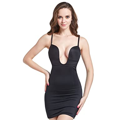 056d9c75d0 AICONL Women s Sexy Shapewear Seamless Firm Control Full Shaping Camis Slip  Dress with Padded Underwire Bra