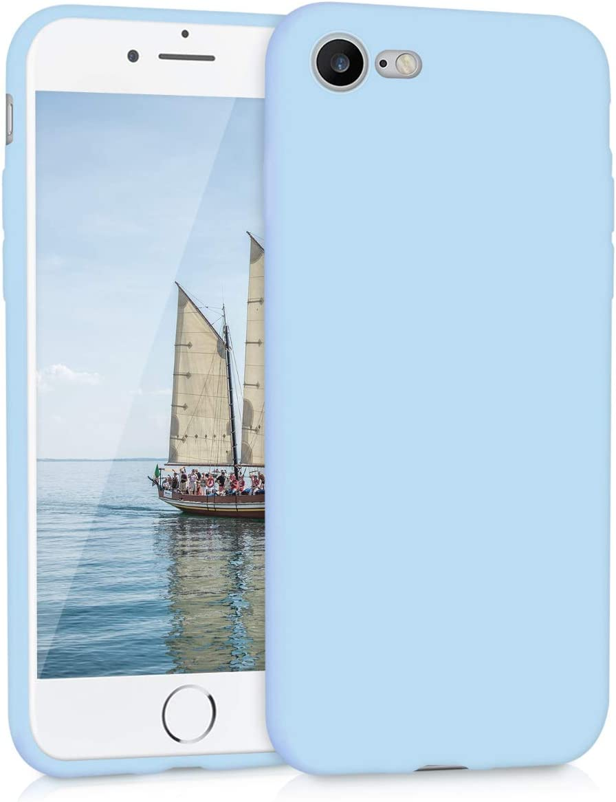 kwmobile TPU Silicone Case Compatible with Apple iPhone 7/8 / SE (2020) - Soft Flexible Protective Phone Cover - Light Blue Matte