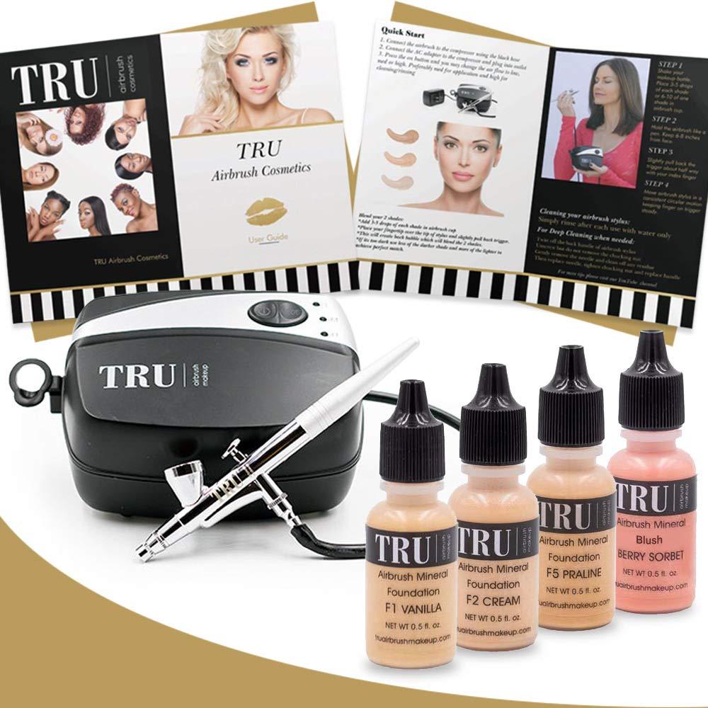 TRU Airbrush Makeup Kit Light/Medium Mineral Foundation 6 piece makeup set