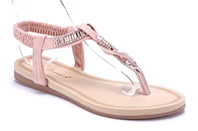 6e4a56c8b776c0 Schuhtempel24 Damen Schuhe Zehentrenner Sandalen Sandaletten rosa flach  Ziersteine