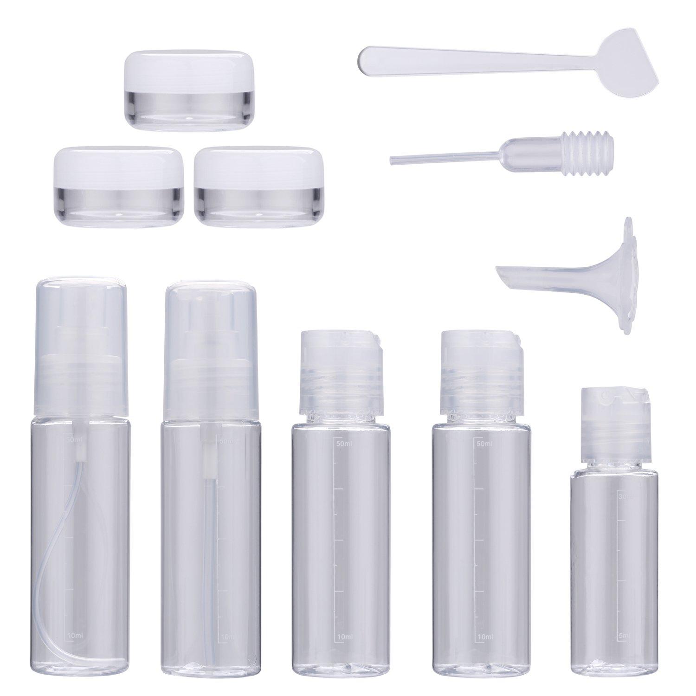 Reiseflaschen Set, COOFIT 5 Stück Reiseset Flugzeug Silikon Reise Flaschen Set, Farbige Fläschchen Kosmetikbehälter Flaschen Shampoo Creme (Assorted color)