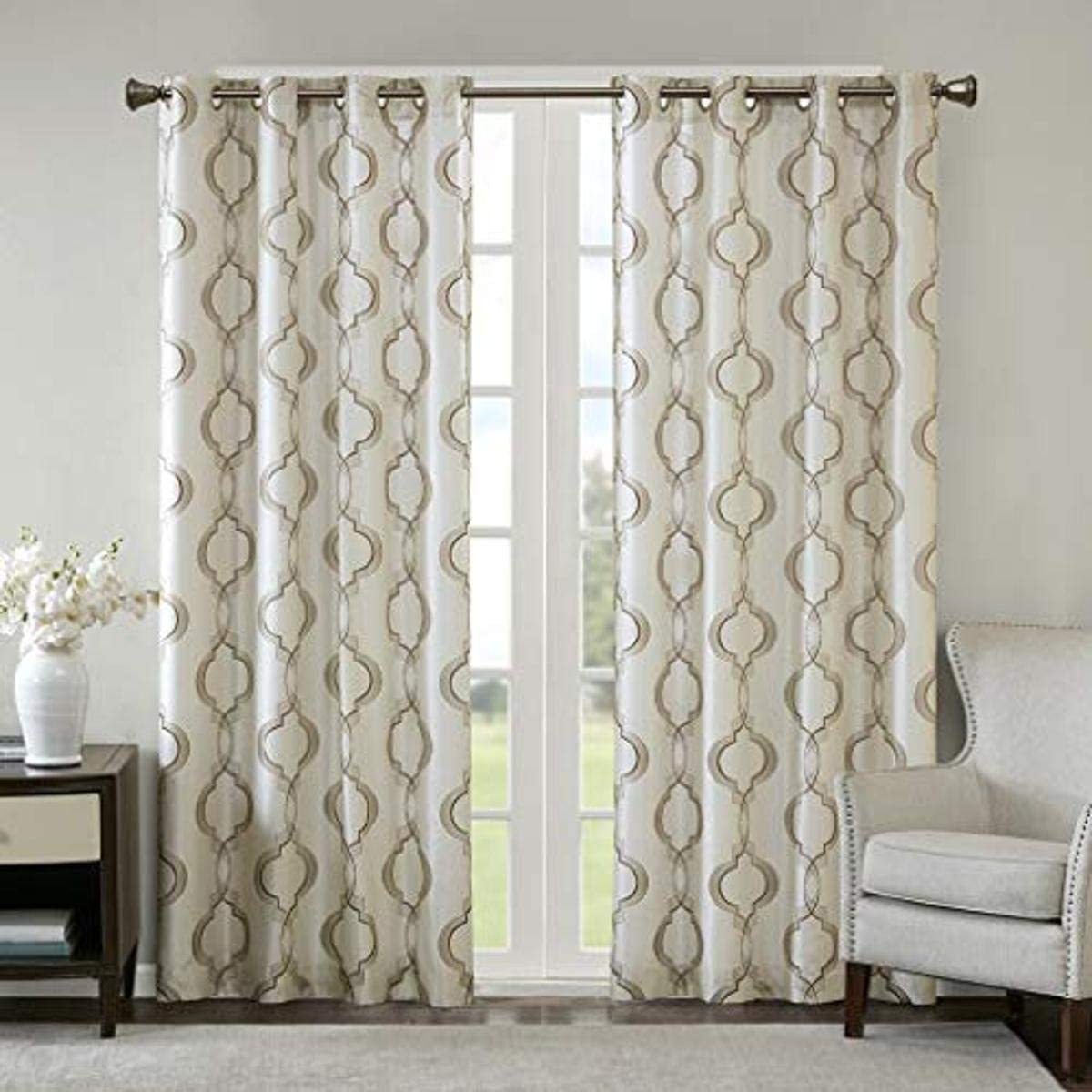 Madison Park Tan Grommet Curtains for Living Room, Harlan Embroidered Window Curtains for Bedroom, Faux Silk Semi-Opaque Transitional Living Room Curtains, 50X63, 1-Panel Pack