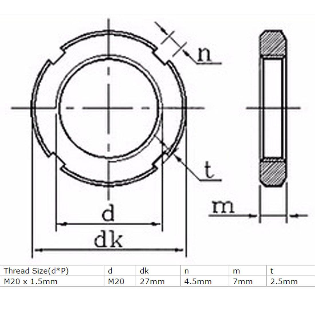 sourcingmap/® 2 Stk M20 x 1,5mm Gewindesteigung Kohlenstoff Stahl Schlitz runde Mutter DIN 1804 DE de