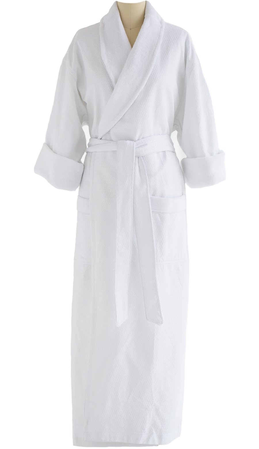 Full-Length Bathrobe - Diamond Jacquard Minx Lined Robe - 100% Cotton - Traditional Shawl Design - 4XL WHITE by Chadsworth & Haig (Image #4)