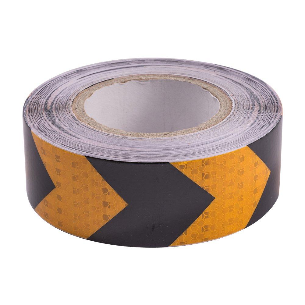ATMOMO ORANGE BLACK Car Arrow Reflective Safety Sticker Safety Warning Tape Film Warning Sticker 5CMx25M