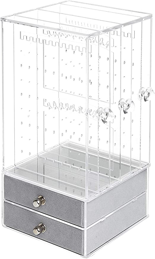 Jewelry Box for Women Dust-Proof Jewelry Organizer Necklace Earrings Bracelet Hanger Acrylic Display Storage Case Decor Gifts for Girls Holds 108 Pairs Large