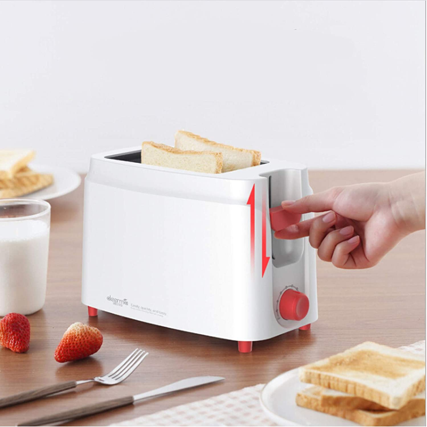 Toasters 2 Slice Best Rated Prime - White Toaster - Breakfast Maker - 680W Quickly Small Toaster
