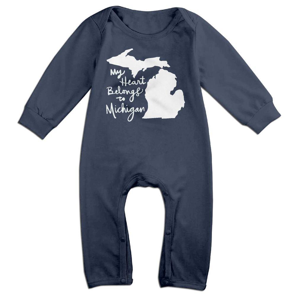 Newborn Kids Coverall My Heart Belongs to Michigan Infant Long Sleeve Romper Jumpsuit