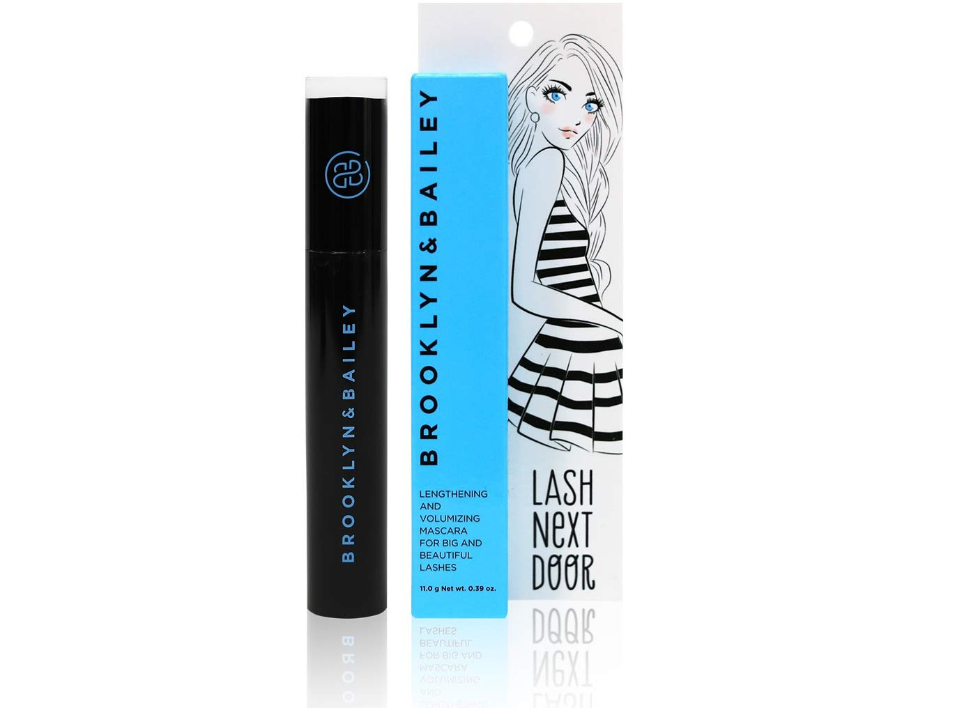 Lash Next Door Black Waterproof Mascara Lengthens and Volumizes Without Clumps Volume Waterproof Mascara for Longer Fuller Thicker Smudge Proof Lashes by Brooklyn and Bailey