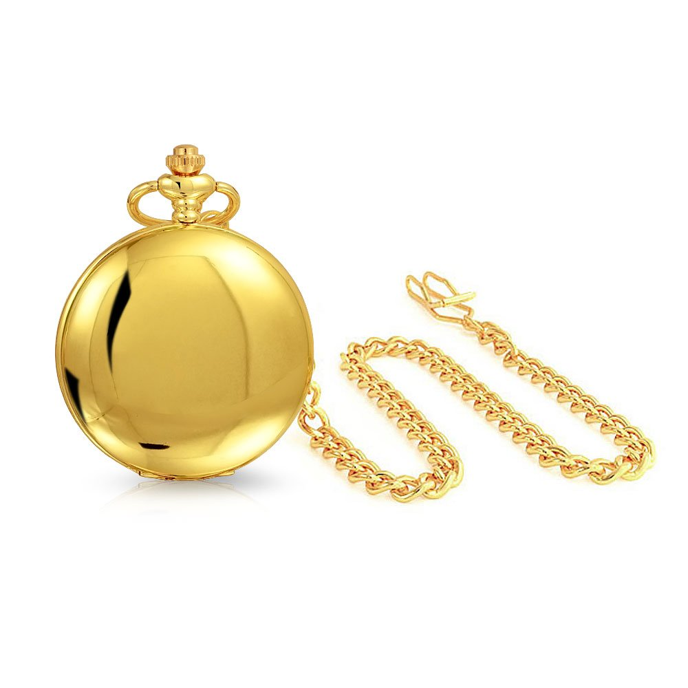 Bling Jewelry Roman Numeral Mens Pocket Watch High Polish Gold Plated Quartz by Bling Jewelry