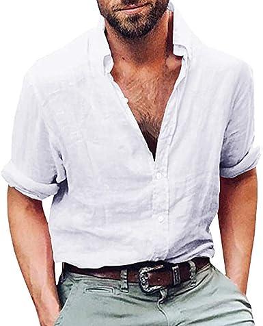 Overdose Camisas Hombre Lino Manga Larga de Vestir Camisas Hombres Raras Vintage Uní Color Elegantes de Boda no Plancha: Amazon.es: Ropa y accesorios