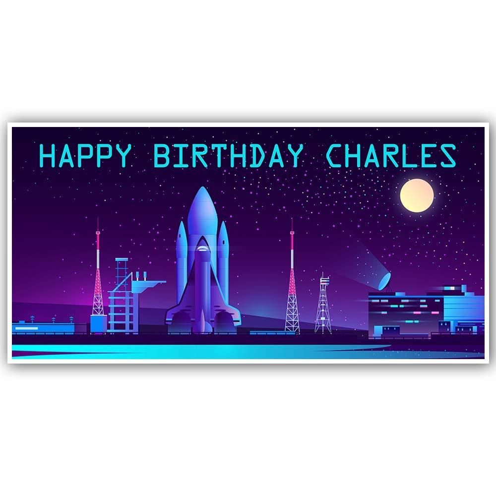 Spaceship Birthday Banner Personalized Decoration