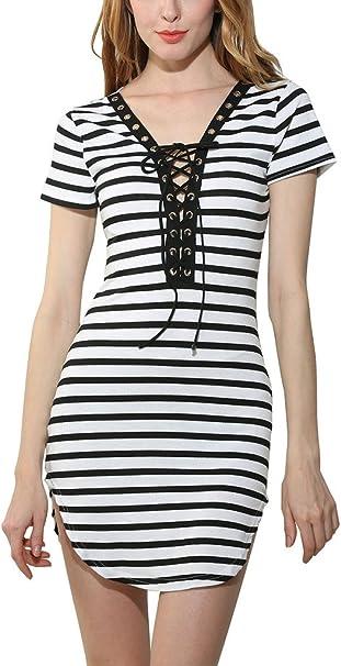 Vestiti Eleganti Bianco E Nero.Donna Vestiti Eleganti Vintage Manica Corta V Scollo Bianco E Nero