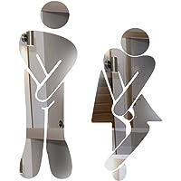 Funky Goods Crossed Legs Funny Bathroom Toilet Restroom Door Accessories Symbol Sign 5'' Mirror Set for Home Office and Work