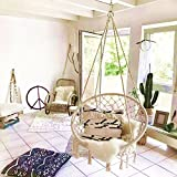 E EVERKING Hammock Chair Macrame Swing, Handmade Knitted Hanging Swing Chair for Indoor/Outdoor Home, Patio, Deck, Yard, Garden,265 Pound Capacity