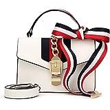 Windwelle Damen Retro-Band & PU-Schulterriemen Handtaschen Umhängetasche Schultertasche Von Elelife-Geschäft (Weiß)