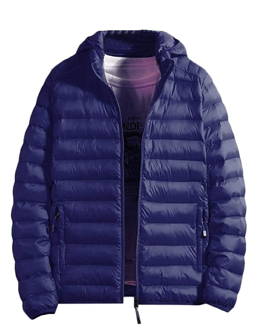 Keaac Mens Packable Lightweight Puffer Down Jacket with Removable Hood