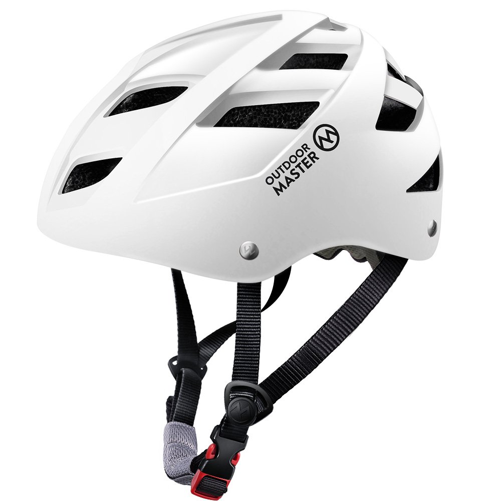 OutdoorMaster Multisport Helmet for Child & Youth - Adjustable Size & Washable Lining - 21 Vents Ventilation System - S - White