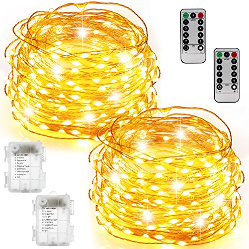 String Lights 2 Set 100 LED Christmas Fairy Lights with Remote Control(Timer),Warmtaste 33ft String Waterproof Copper Wire, Decor Rope Lights for Bedroom,Patio,Garden,Parties,Wedding(Warm White (White Coin Shape)