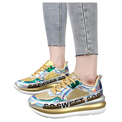 YiYLunneo Womens Platform Shoe Sequined Colorful Mirror Sneakers Nightclub Casual Running Shoes Sports Walking Shoe: Clothing