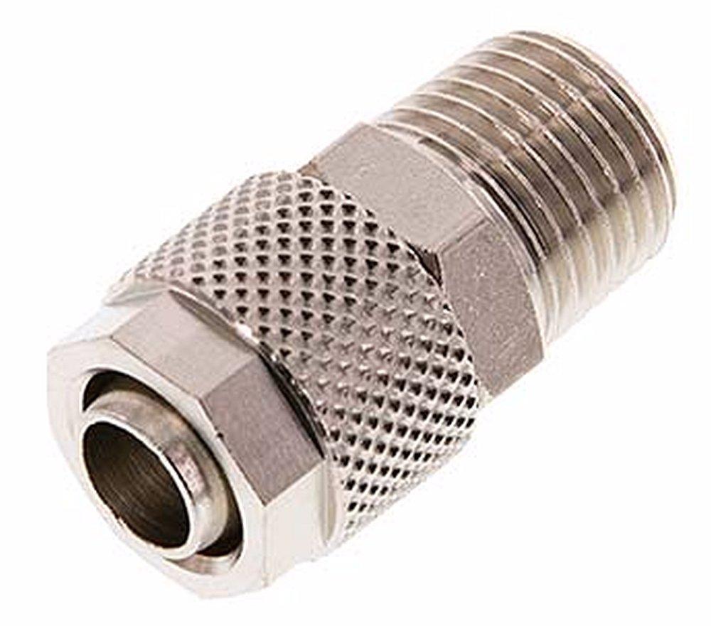 Gerade Verschraubungen mit konischem Gewinde, R 1/2' x 12/10mm, Messing vernickelt R 1/2 x 12/10mm LF