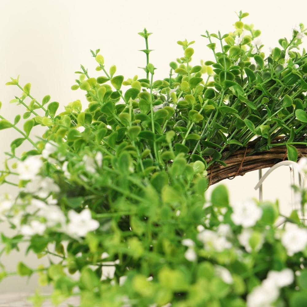 D/écoration De Tenture Murale Porte Porte Couronne Petites Fleurs Blanches Deucalyptus Rotation Branches De Coupe Printemps D/écoration De La Maison Riosupply Couronne De Feuilles Deucalyptus