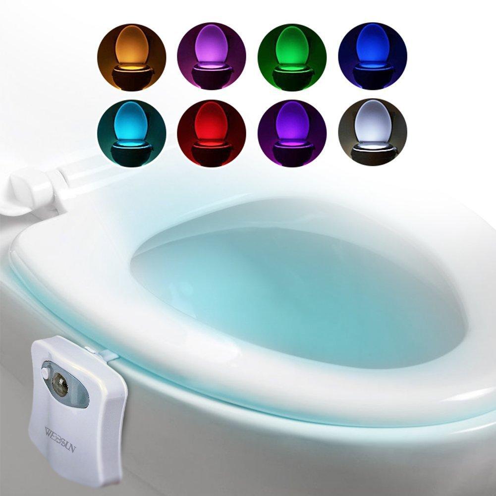トイレ ライト 人感 センサー 便座 LED ランプ 8色変換 節電 便器 玄関 お手洗い 照明用 常夜灯 電池式