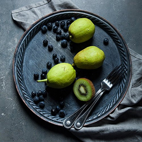 He Xiang Ya Shop Iron Flat Plate Home Breakfast Large Tray Fruit Cake Tray Water Cup Tray Black Dinner Plate 12 inches by He Xiang Ya Shop (Image #1)
