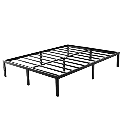 reputable site 1064c 773ee Noah Megatron Queen Size Metal Bed Frame-Steel Slat Mattress Foundation,  Heavy Duty Box Spring Replacement, 14 Inch Platform Bedframe, Black