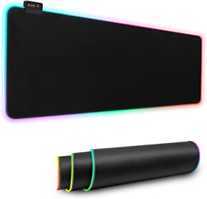 PCCOOLER Large RGB Gaming Mouse Pad Led Extended XXL Soft Mousepad with 14 Lighting Mode,Large Mouse Pad Gaming with No-Slip Rubber Base,Large Gaming Mouse Pads Optimized for Gamer(31.5x11.8x0.16 in)