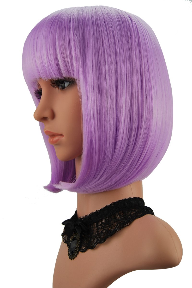 eNilecor Short Bob Hair Wigs 12'' Straight with Flat Bangs Synthetic Colorful Cosplay Daily Party Wig for Women Natural As Real Hair+ Free Wig Cap (Lavender Purple)