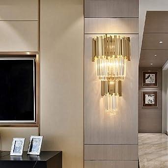 Apliques De Pared Lámpara De Pared De Cristal Oro Moderno Salón Dormitorio Lámpara De Mesilla Lámpara De Pared Decoración Lámpara Escalera Pasillo Pasillo E14X2 Fuente De Luz Fuerte Transmisión: Amazon.es: Iluminación